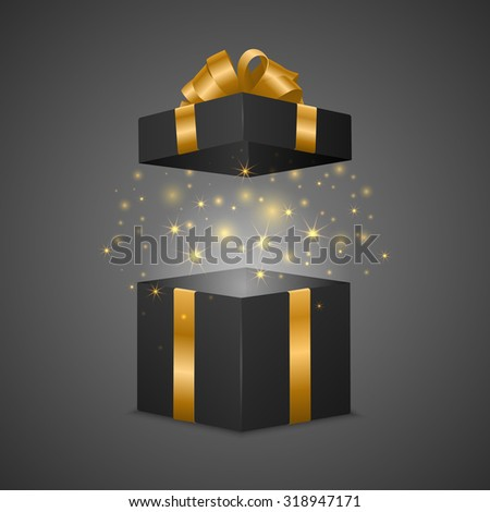Black gift box with a magic effect. Vector EPS10 illustration. - stock vector