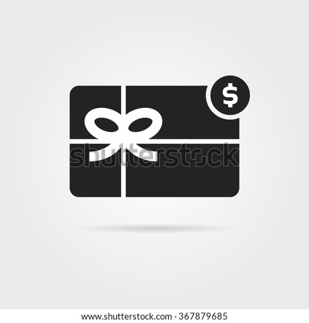 black gift card icon with shadow. concept of xmas, promo, saving, currency, mobile app, valentine day bargain sale, offer. isolated on gray background. flat style trend logo design vector illustration - stock vector
