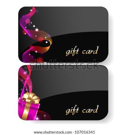 Black Gift Card Set, Isolated On White Background, Vector Illustration - stock vector
