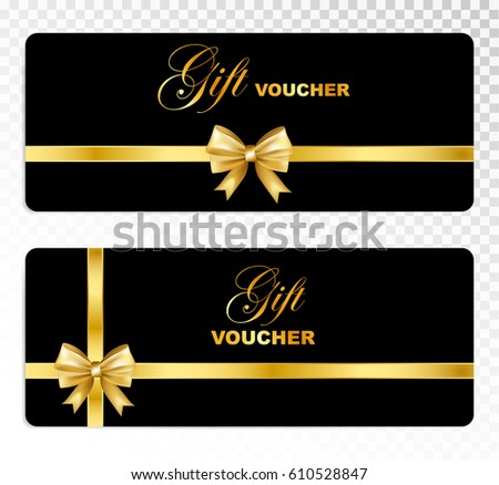 Black gift voucher gold bow isolated stock vector 610528847 black gift voucher with gold bow isolated on transparent background holiday card template set yelopaper Images