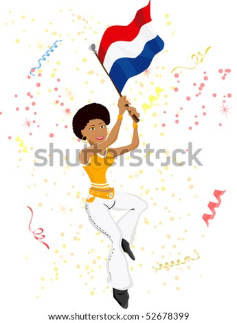 Black Girl Dutch Soccer Fan with flag. Editable Vector Illustration - stock vector