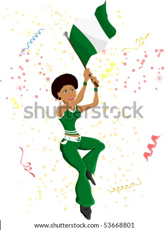 Black Girl Nigeria Soccer Fan with flag. Editable Vector Illustration - stock vector