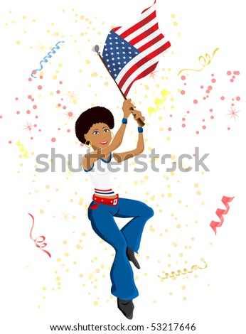 Black Girl United States Soccer Fan with flag. Editable Vector Illustration - stock vector