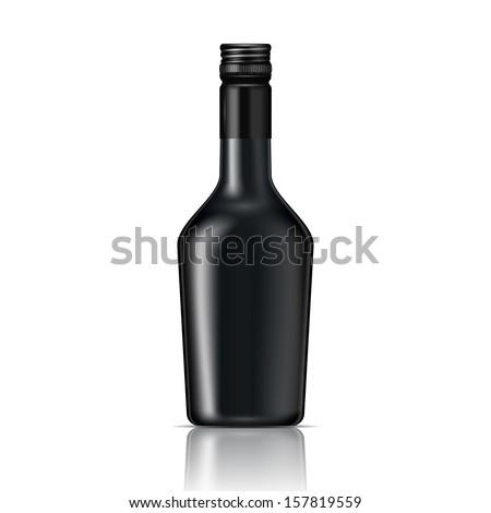 Black glass liqueur bottle with screw cap.. Vector illustration. Glass bottle collection, item 6. - stock vector