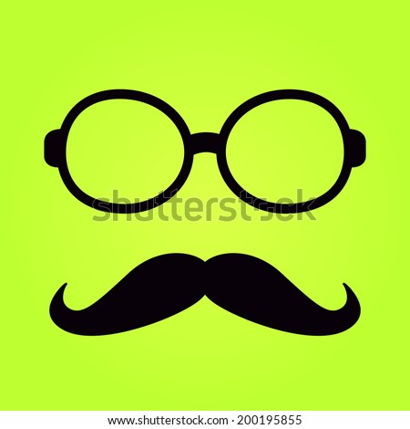 Black Glasses Frame with Moustache Isolated on Green Background. Flat Design - stock vector