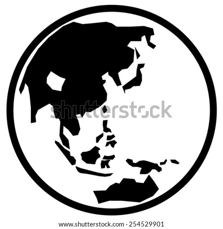 Black globe showing Asia and Middle East - stock vector