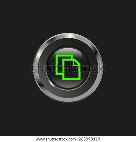 Black glossy button with metallic elements and icon copy, on black background, vector design website - stock vector