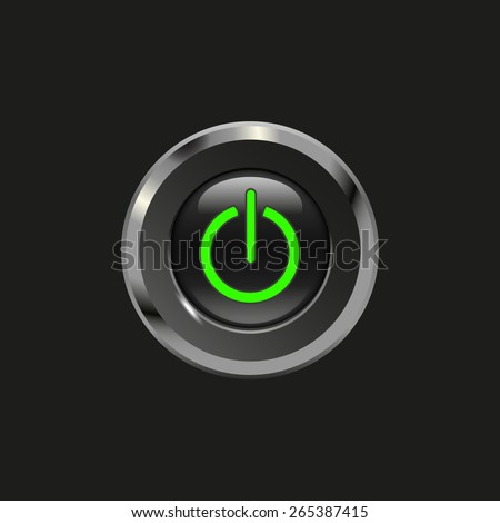 Black glossy button with metallic elements and icon power on/off, on black background, vector design for website - stock vector