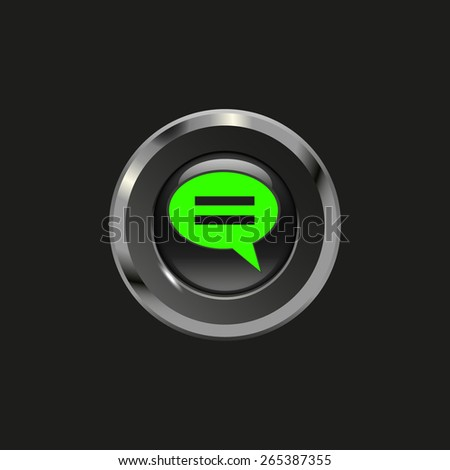 Black glossy button with metallic elements and icon speech bubbles (comments), on black background, vector design for website - stock vector
