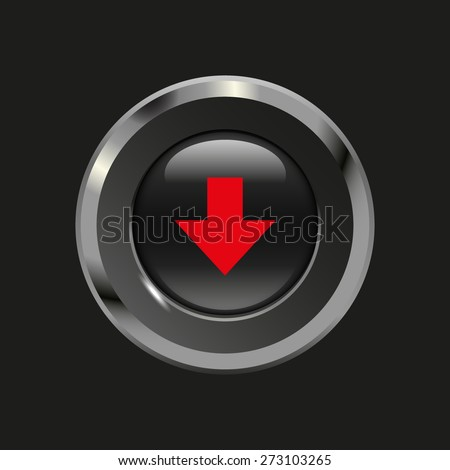 Black glossy button with metallic elements and red icon arrow down, on black background, vector design website - stock vector