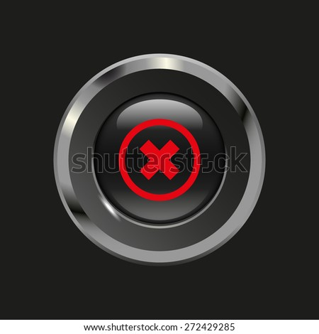 Black glossy button with metallic elements and red icon delete, on black background, vector design website - stock vector