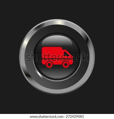 Black glossy button with metallic elements and red icon delivery, on black background, vector design website - stock vector