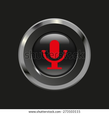 Black glossy button with metallic elements and red icon microphone, on black background, vector design website - stock vector
