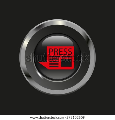 Black glossy button with metallic elements and red icon newspaper, on black background, vector design website - stock vector