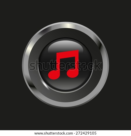 Black glossy button with metallic elements and red icon note, on black background, vector design website - stock vector