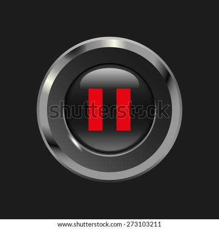 Black glossy button with metallic elements and red icon pause, on black background, vector design website - stock vector