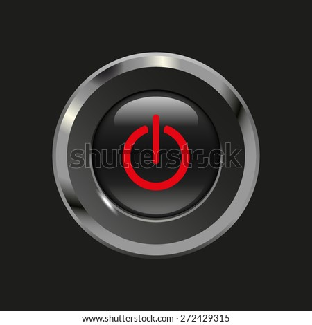 Black glossy button with metallic elements and red icon power on/off, on black background, vector design website - stock vector