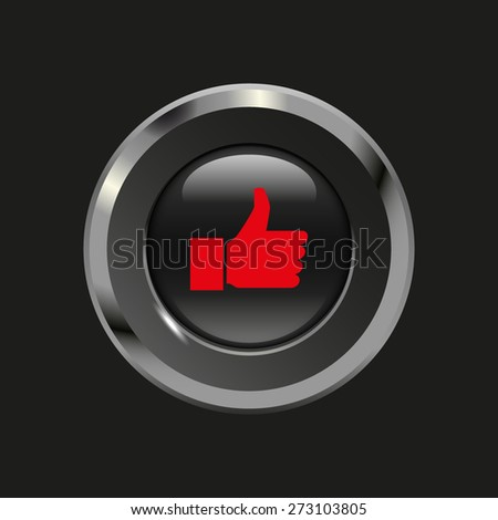 Black glossy button with metallic elements and red icon thumbs up (like), on black background, vector design website - stock vector