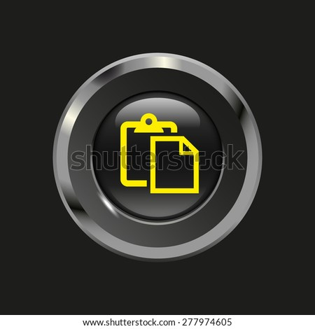 Black glossy button with metallic elements and yellow icon paste, on black background, vector design website - stock vector