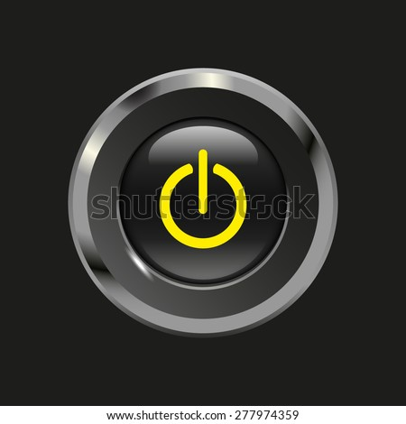 Black glossy button with metallic elements and yellow icon power on/off, on black background, vector design website