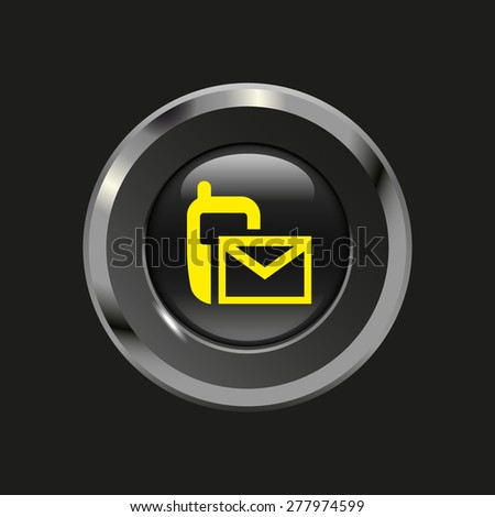 Black glossy button with metallic elements and yellow icon sms (mms), on black background, vector design website - stock vector