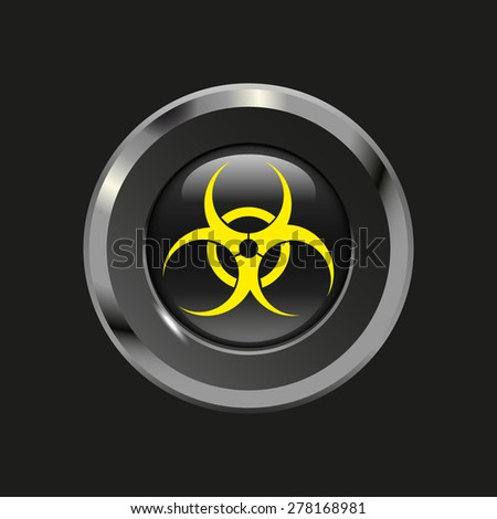 Black glossy button with metallic elements and yellow icon virus, on black background, vector design website - stock vector
