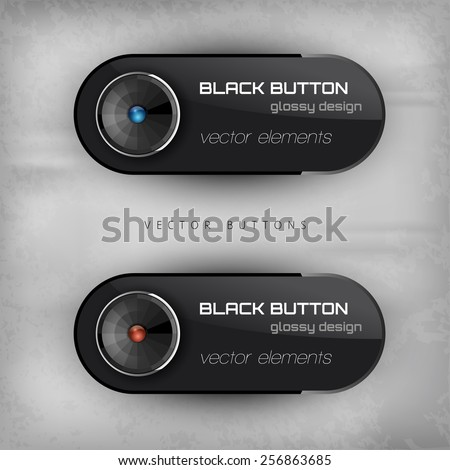Black glossy buttons. Interface elements. Version with sample text. - stock vector
