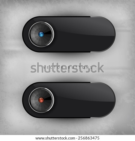 Black glossy buttons. Interface elements. Version without sample text. - stock vector