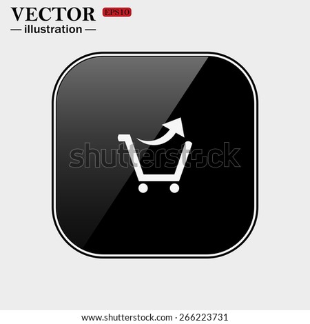 Black glossy buttons isolated on white background.  remove from the shopping cart, vector illustration, EPS 10 - stock vector
