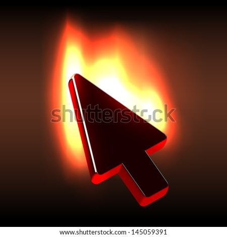 black glossy computer cursor flaming bright stock vector royalty