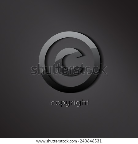 Black glossy copyright vector symbol. C letter business icon. - stock vector