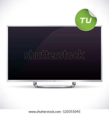 Black Glossy LCD TV - Samsung, LG, SONY, Panasonic, Sharp style Illustration, Sign, Button, Logo With Sticker - stock vector