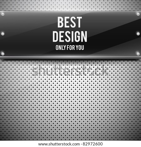 Black glossy plate on metal grid(vector illustration) - stock vector