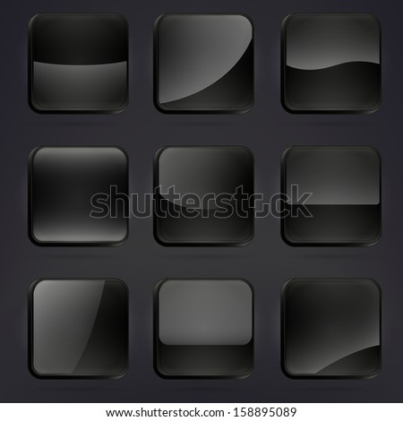 Black glossy square application buttons or app banners with rounded corners and different gloss reflection effect over, eps10 vector - stock vector