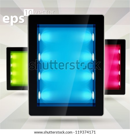 Black glossy tablet pad electronic device with empty copyspace backlighted showcase as blue screen, eps10 vector illustration