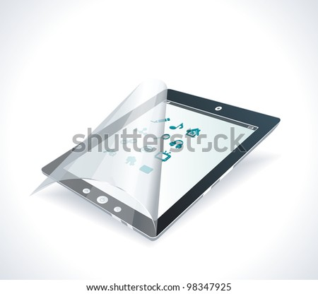 Black glossy tablet PC - stock vector