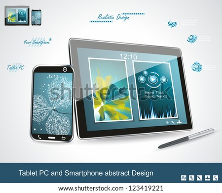 Black glossy tablet PC and touchscreen smartphone isolated on white reflective background - stock vector
