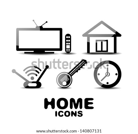Black glossy vector home icons - stock vector