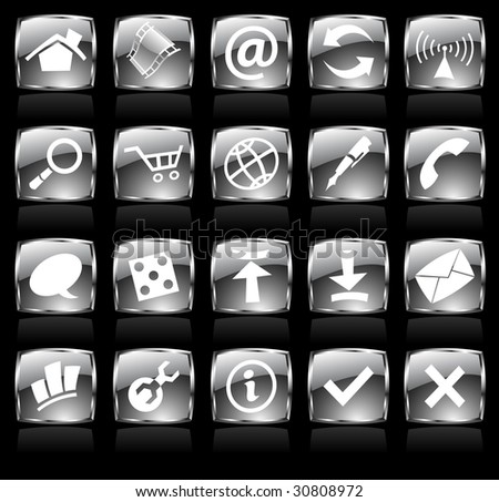 Black glossy web icons with metallic frames - stock vector