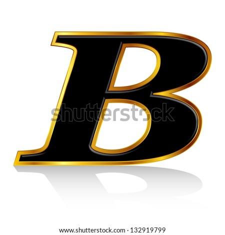 Black gold alphabet B - stock vector