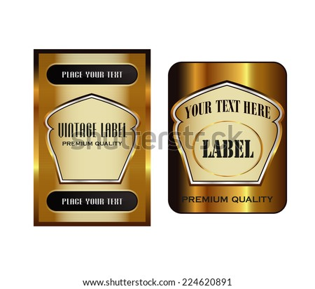 Black gold-framed labels  - stock vector