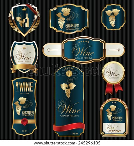 Black gold framed labels - stock vector