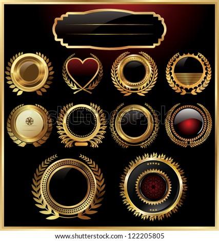 Black gold framed labels with laurel wreaths - stock vector
