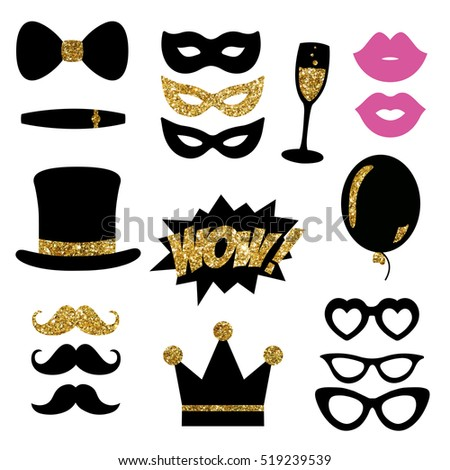 Black & Gold Glitter Photo Booth Props for New Year's Eve Party