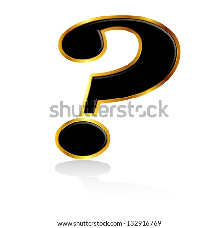 Black gold question mark - stock vector