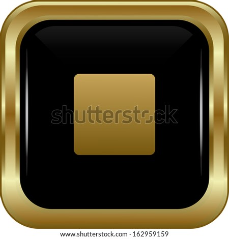 Black gold stop button. Abstract vector illustration. - stock vector