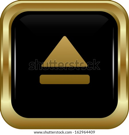 Black gold upper button. Abstract vector illustration. - stock vector