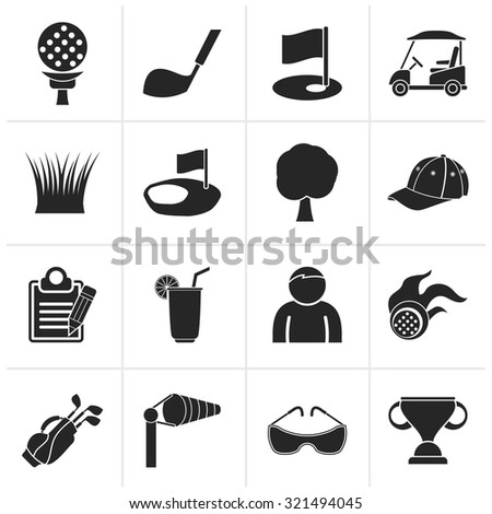 Black golf and sport icons - vector icon set - stock vector