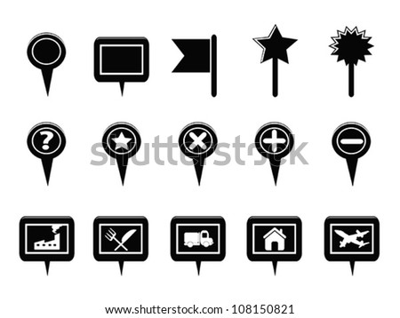 Black GPS and Map Navigation Markers - stock vector