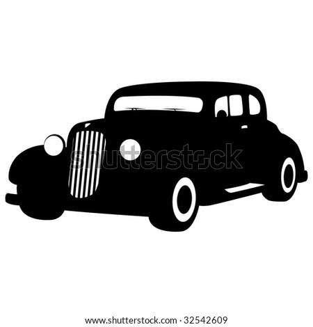 black gradiented vintage car, vector illustration - stock vector